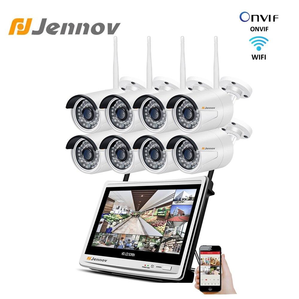 Kit de videovigilancia Jennov 8CH 1080P, sistema de seguridad inalámbrico para cámara de 2MP, 12 pulgadas, Monitor LCD NVR, conjunto de CCTV, cámaras impermeables IP66 Sistema de alarma de casa, intercomunicador con alarma Wifi GSM, Control remoto, Autodial, detectores de 433MHz, IOS, Android, Tuya, teclado táctil con Control de aplicación