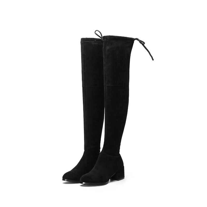Elastik akın Slim Fit diz çizmeler üzerinde kadın 2019 kış uyluk Lace up bayanlar yüksek topuk tıknaz topuk uzun uyluk yüksek botas