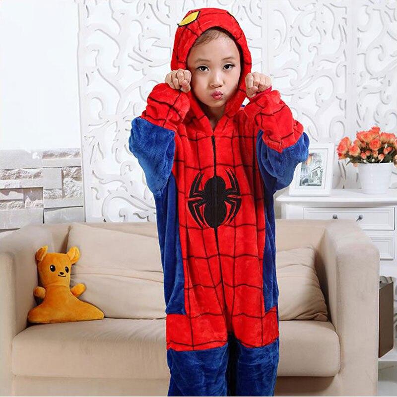 Dollplus/Обувь для мальчиков Повседневное фланель Утепленная одежда пижамы «Человек-паук» Детская Kigurumi Обувь для девочек зимние модные милые п...