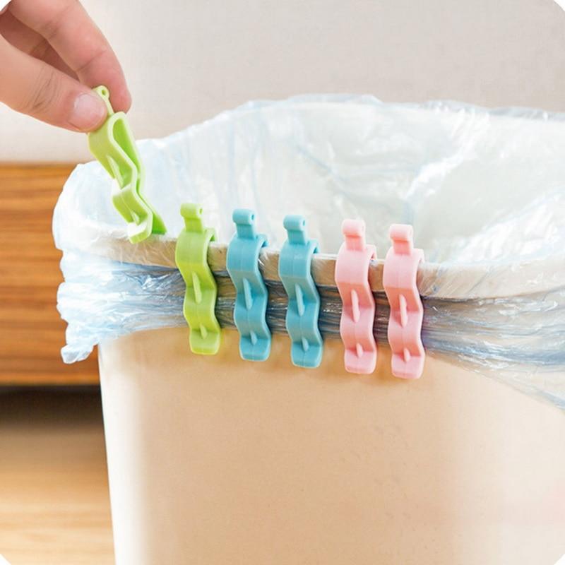 6 Pcs Home Organizer Clip Waste Bin Bag Dustbin Clamp Garbage Bags Non-Slip Clip