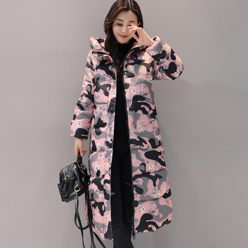 Hooded long printing casaco feminino inverno 2019 warm thicken cotton padded winter jacket women female coat   parka   women's