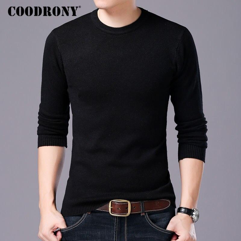 Coodrony свитер Для мужчин осень-зима теплые Для мужчин S вязаный шерстяной Свитеры для женщин сплошной Цвет Повседневное О-образным вырезом тянуть Homme хлопковые пуловеры Для мужчин 7209