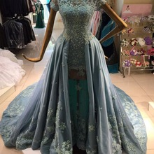2019 Blue A line Lace Tulle Modest Prom Dresses With Short Sleeves Beaded Lace Appliques Arabic Formal Evening Wear Dubai Prom