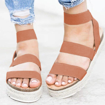 Women Sandals 2019 Fashion Chunky Heels Summer Sandals Plus Size Casual Shoes Woman Platform Sandals Beach Flat Sandalias Mujer