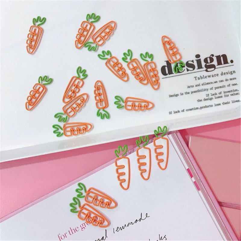 JESJELIU 2 шт./лот творческий в форме моркови металлический зажим для бумаги закладки студентов канцелярские принадлежности школы офисные принадлежности