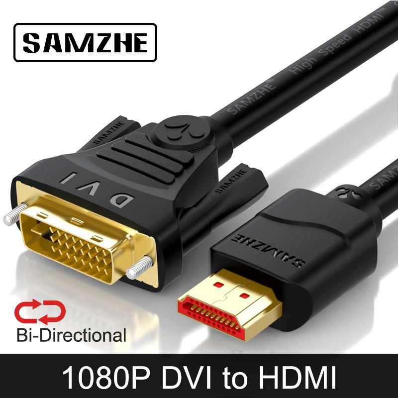 SAMZHE DVI vers HDMI/HDMI vers DVI Bidirectionnelle Transmission 1080P Câble HDMI pour ordinateur Projecteur, Écran TV Xbox, Ordinateur Portable