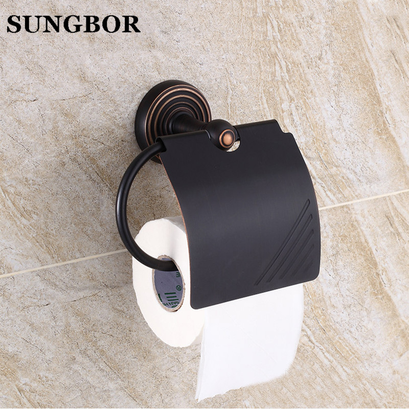 Free Shipping Vintage Black Brass Toilet Paper Roll Holder Bathroom Wall Mounted Rack toilet paper holder Copper Material 5408H bathroom accessory antique brass wall mounted copper toilet paper roll holder free shipping aba037