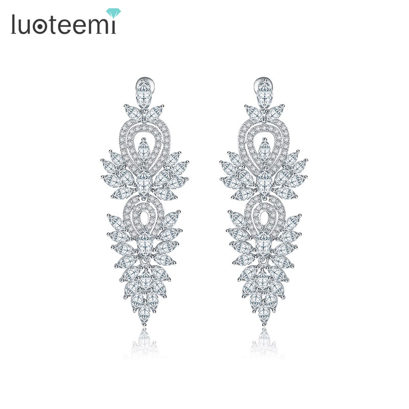 LUOTEEMI Fashion Newest Design Luxury Clear Cubic Zirconia Big Bridal White Gold color Earring For Women