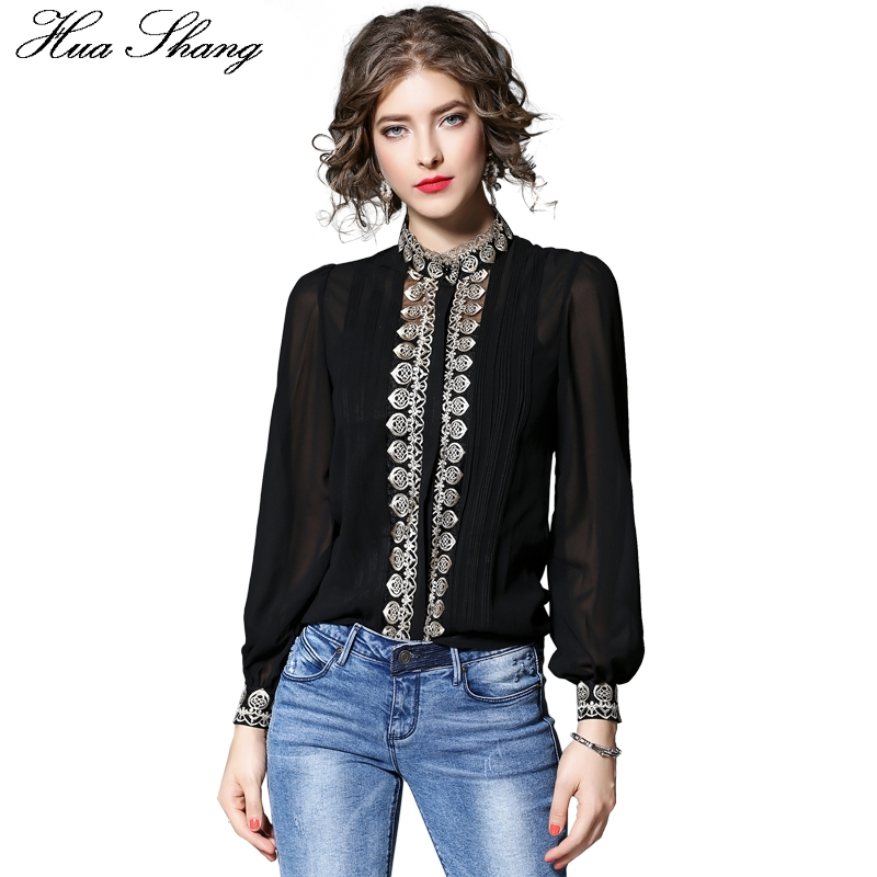 Fashion Women Summer Chiffon Blouse Elegant Stand Collar Lanter Long Sleeve Embroidery Shirt White Black Two Pieces Office Tops