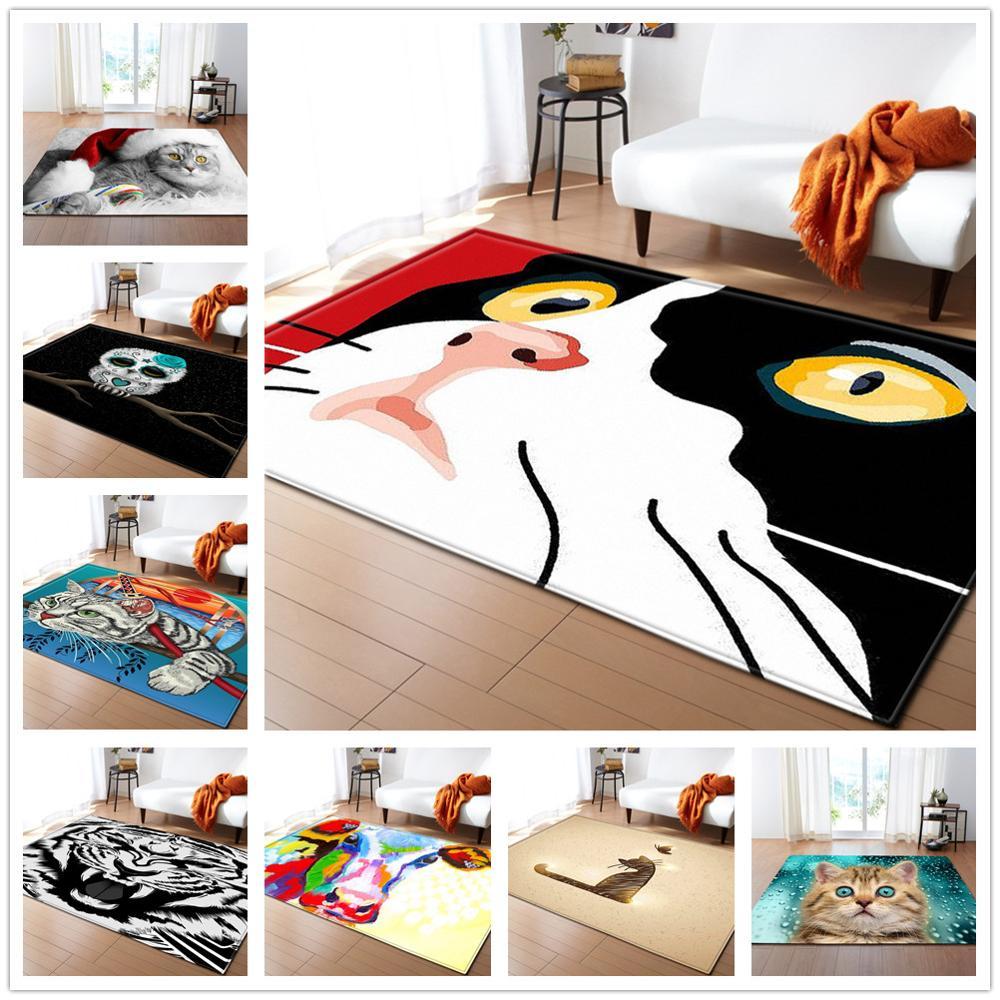 Colour Cartoon Carpet Kids Room Decor Carpets Cute Pets Cat Children Play Crawl Mats Soft Flannel Living Room Bedroom Area Rugs(China)