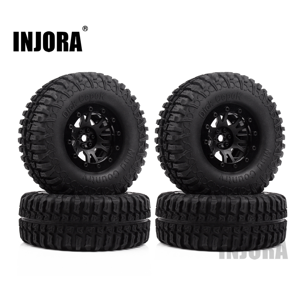 INJORA 4Pcs Plastic 1.9 Beadlock Wheel Rim & Tires Set for 1/10 RC Crawler Axial SCX10 90046 Tamiya CC01 D90 RC Car 4pcs rc crawler 1 10 wheel rims beadlock alloy 1 9 metal rims rock crawler wheel hub parts for rc car traxxas rc4wd scx10 cc01