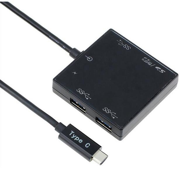 Multifunción Tipo-c USB 3.0 HUB Lector de Tarjetas USB 3.0 COMBO Conector Adaptador para MacBook Chromebook Wholesale 10 unids/lote