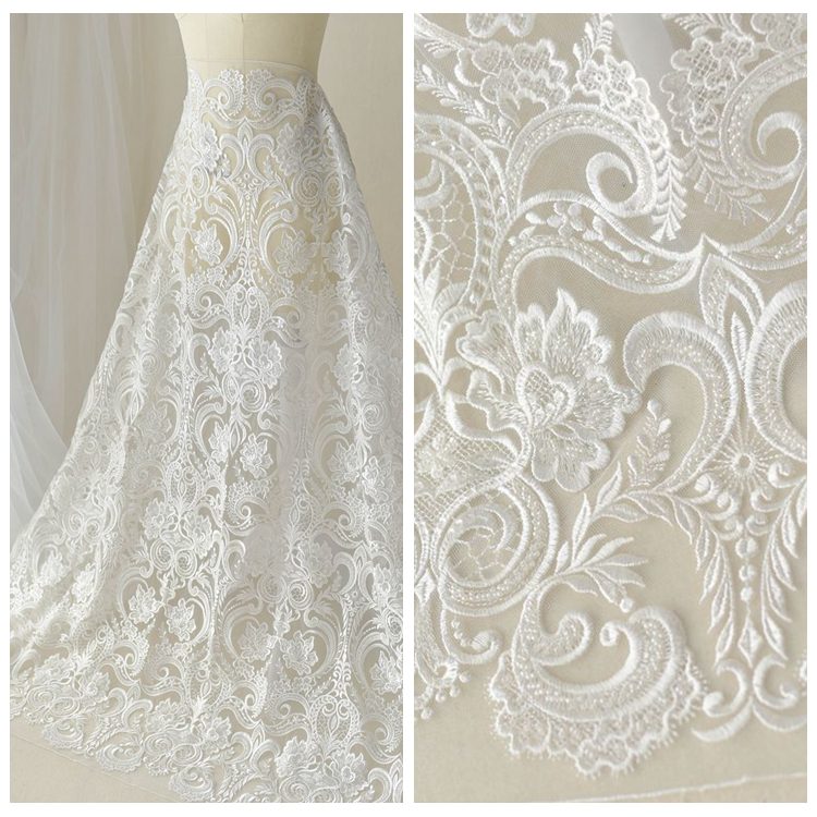 African Handcut Organza Lace Fabric With Sequins Embroidery Tulle Voile Lace Fabric Hot Sale Organza Lace
