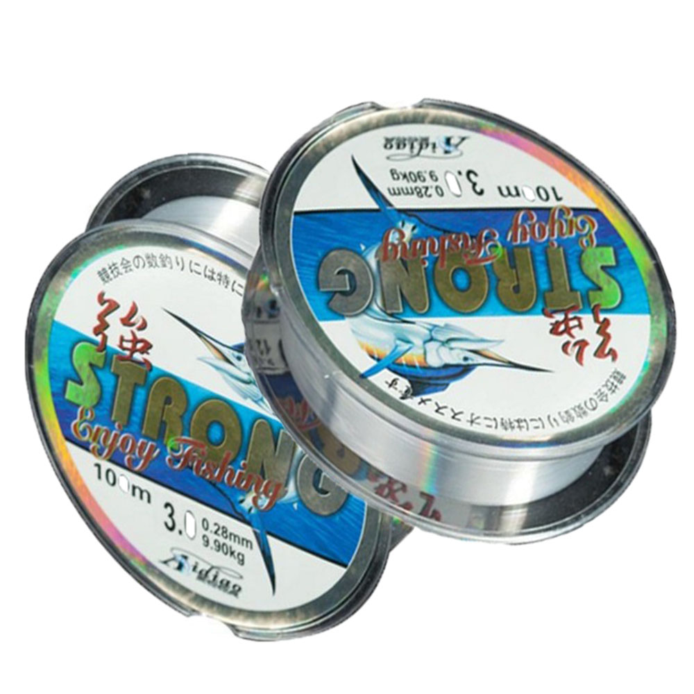 Cost-effective Strong Tensile 100m Nylon Transparent Fluorocarbon Stream Sea Fishing Line