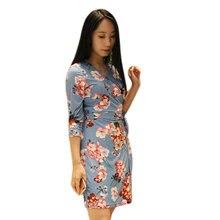 Femmes V-cou Manches Trois-Quarts Floral Imprimer Court Wrap Robes D'été Dames Bleu Plage Robe robe femme ete 2017