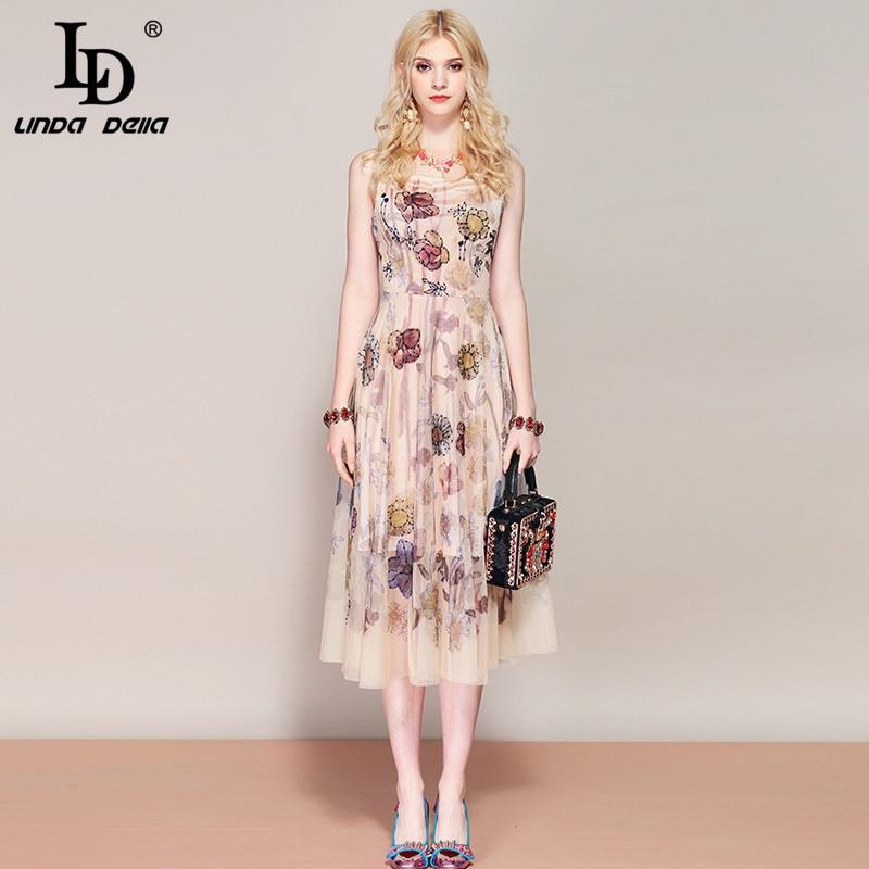 LD LINDA DELLA Fashion Runway Summer Dress Women s Spaghetti Strap Floral Print Beading Mesh Vintage