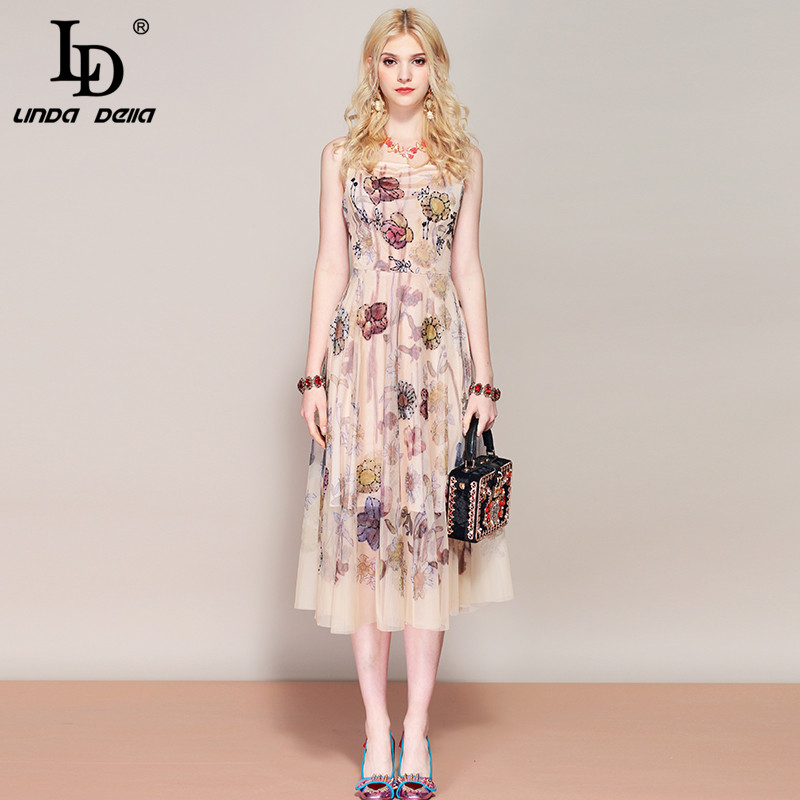 d1123b8c62e LD Linda della новый дизайнер взлетно посадочной полосы Ретро летнее платье  женские без рукавов ...