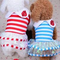 Spring Summer Dog Dress Stripes Yorkies Chihuahua Fmale Dog Clothes Princess Girl Pet Dog Skirts XXS XS S M L Red Blue
