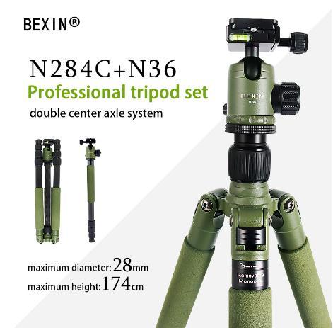 BEXIN W284C + N36 caméra trépied professionnelle en fiber de carbone avec tête à bille verte et monopode détachable pour appareil photo reflex numérique