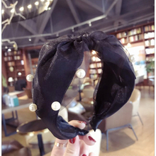 цены 2018 New Korean Style Hair Accessories For Women Cute Bow tie Chiffon with pearl Headbands Girls Hair Bands Colorful Hair Hoo