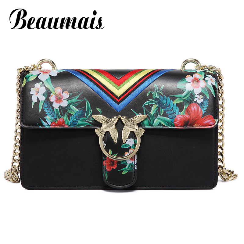 Beaumais Summer Style Pu Leather Mini Handbags Printing Women Messenger Bags Chain Satchels Shoulder Crossbody Bag Clutch DB5902 bromen crossbody bags for women leather handbags pvc printing satchels ladies shoulder messenger bag brand design dames tassen