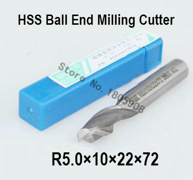 Free shipping 10PCS R5.0 high speed steel ball end milling cutter, straight shank white steel cutter, R alloy milling cutter