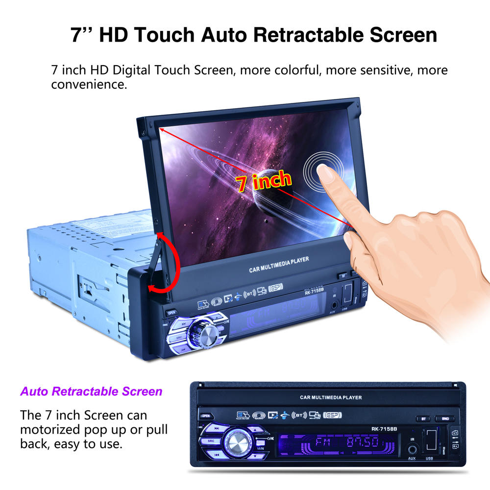 7158B 7'' Touch Screen Mirror Link Subwoofer MP4 MP5 One Din Car Radio video Player+ Bluetooth AM FM Receiver Support Rear view joyous j 2611mx 7 touch screen double din car dvd player w gps ipod bluetooth fm am radio rds