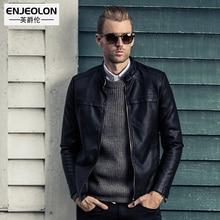 Enjeolon brand top new black Motorcycle Leather PU Jackets Men Winter slim Clothing zipper Stand collar