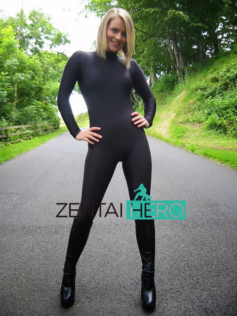Free Shipping DHL Custom Made Black Color Lycra Spandex Zentai Catsuit No Hood No Hand Zipper in Back Size S-XXXL LZ112101