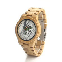 BOBOBIRD H17 Top Brand Men's Bamboo Wooden White Paint Exposed Movement Watch Quartz Bamboo Strap With Gift Box Uomo Watches