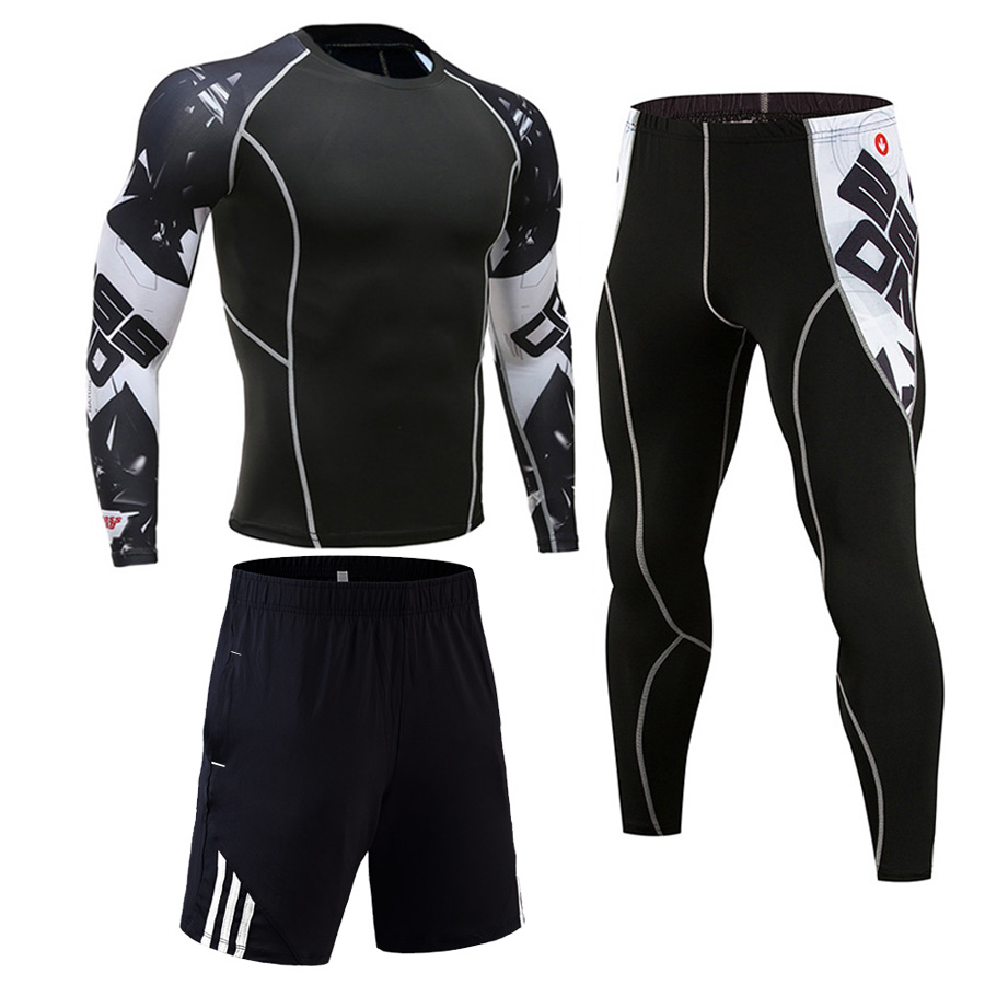 3 Piece Sports Suit Men Compression Quick Dry Running Sportswear Rashgard MMA Male Kit Gym Training Set Long Sleeve Tracksuit