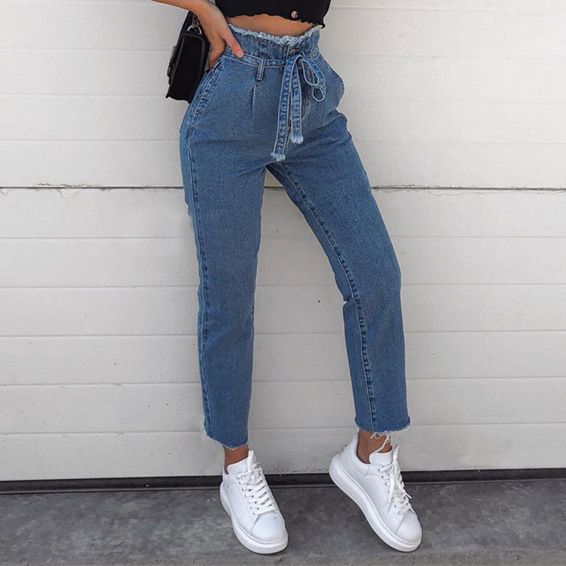 Women Jeans High Waist Jeans Lace Street Style Ankle-Length Pants  Zipper Fly Regular Cotton Pants