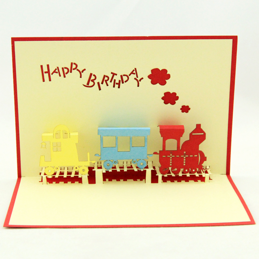 2014 new year laser cut invitations novelty child train toy happy birthday 3d pop up cards