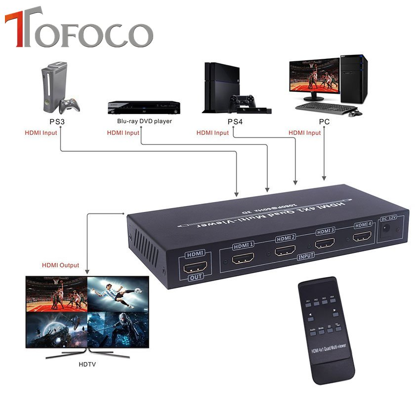 TOFOCO 4X1 HDMI Multi-viewer HDMI Quad Screen Real Time Multiviewer with HDMI Seamless Switcher Function Full 1080P цена