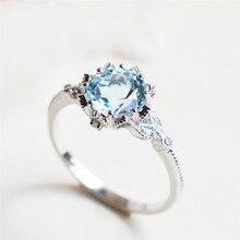 Серебряный цвет со светло-голубым камнем AAA кубический циркон любовь леди кольцо женские хрустальные кольца для женщин Bague Femme подарки Ювелирные изделия Z4