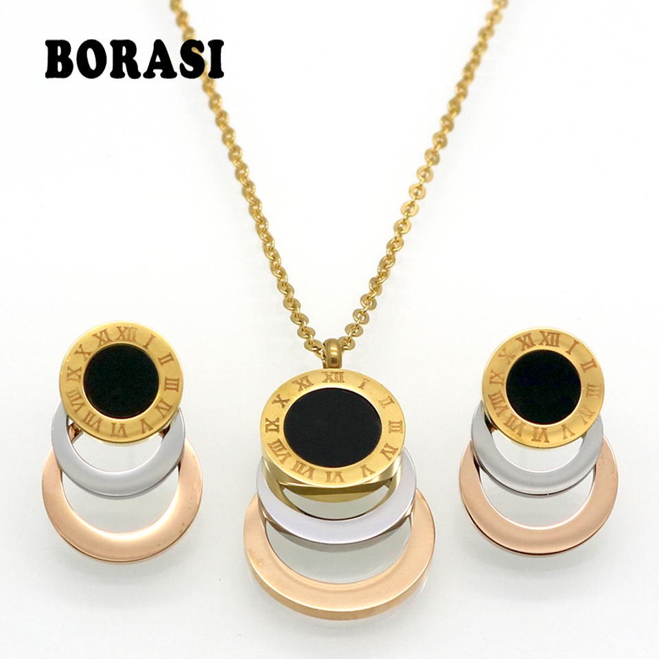 Consist 3 Colour Stainless Steel Jewelry Stes Brand Women Earrings & Necklace Jewelry Set For Female