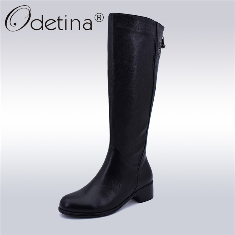 Odetina Genuine Leather Handmade Women Knee High Boots Chunky Heels Zipper New Fashion Lady Riding Boots Thick Wool Winter Shoes