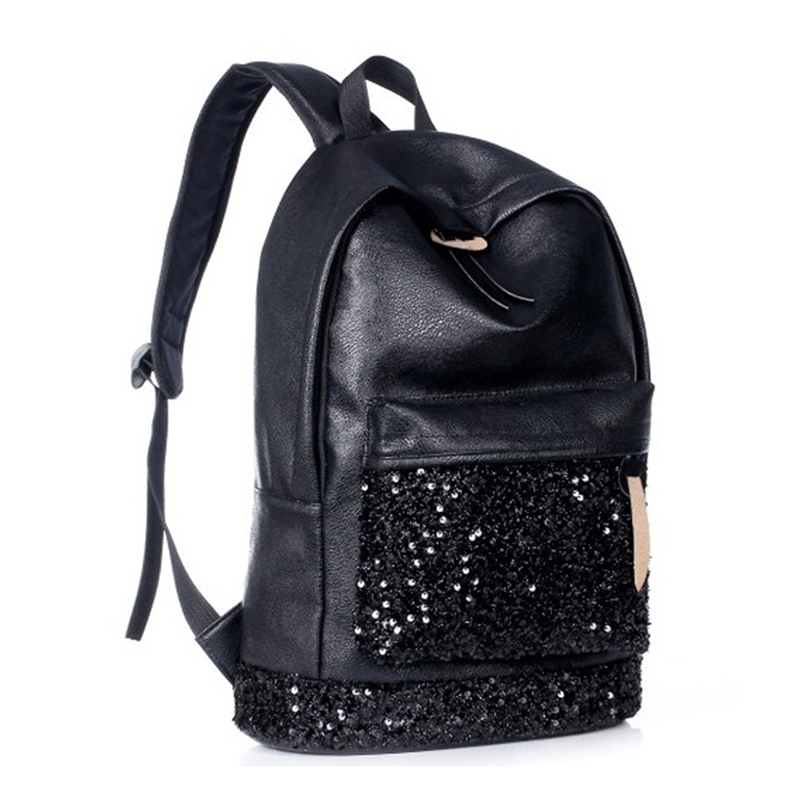 Pu-Backpack School-Bags Sequins Girls Women New-Fashion for Embroidered Big-Crown