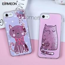 EIRMEON Quicksand Phone Cover For iPhone 7 8 Plus Case Soft TPU Capa X Dynamic Liquid Transparent Back Cases Cute Cat