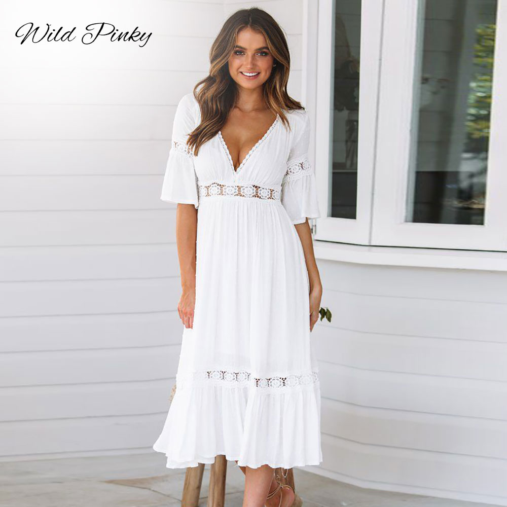 WildPinky New White Lace Up Long Sexy Dress Women Summer V-neck Hollow Out Party Bohemian Casual Feminino Dresses Vestidos