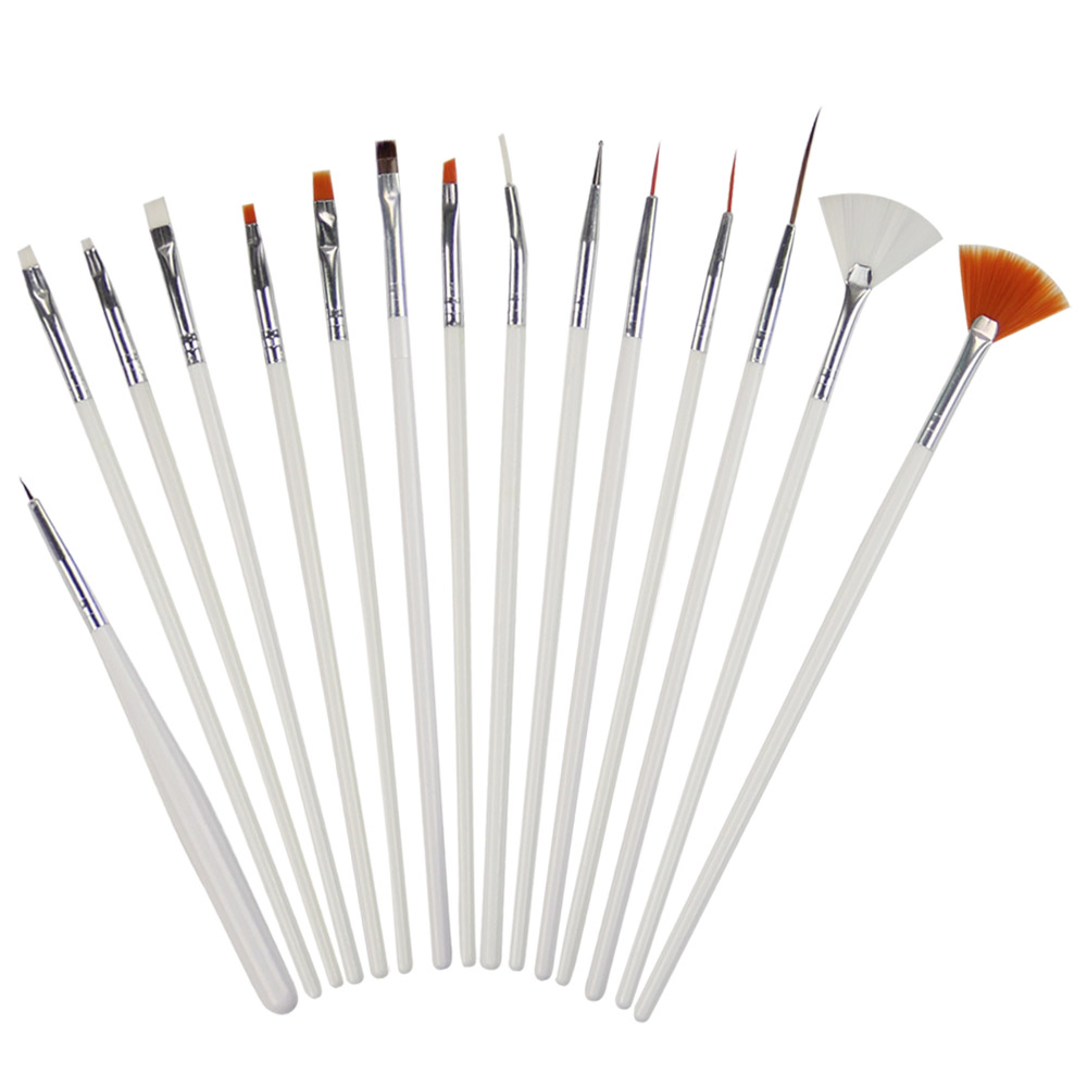 15st / Set LKE Nail Art BrushesDotting Tools Vit Dekorationer Gel Måla Pen Nail Brush Nail Equipment Teckningsverktyg