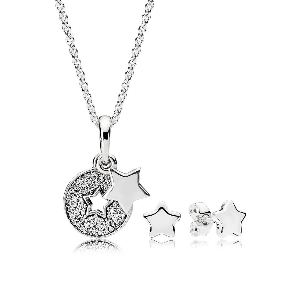все цены на 100% 925 Sterling Silver Shining Stars Necklace and Earrings Gift Set fit charm original Necklace jewelry A set of prices