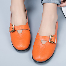 Women Shoes Boats Spring Designer Large-Size Genuine-Leather Buckle for Antiskid
