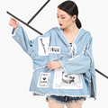 [Soonyour] 2017 nueva sprin otoño denim chaqueta de manga larga de cobertura femenina corto cartas printedwomen todo-fósforo ks0765
