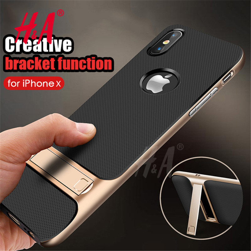 Luxury 360 Protective Case For iPhone X Cover Kickstand PC+TPU Shock Proof Holder Phone Cover For iPhone X Case Coque...  iphone x cases 5.8 Luxury 360 Protective font b Case b font For font b iPhone b font font b