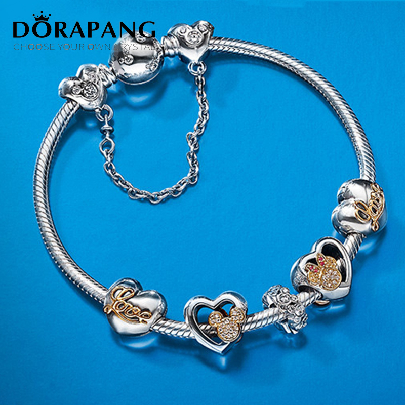 DORAPANG Genuine European Style 100% 925 Sterling Silver Crystal Lovely Charm Bracelet for Women DIY Beads Fishion Jewelry dorapang 100