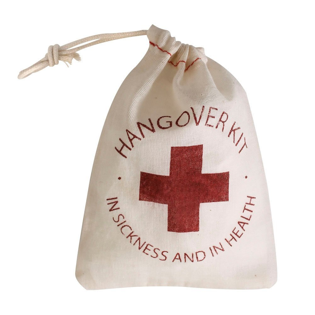 Hot-10pcs Cotton Wedding Party Favor Gift Bags 4 x 6 Inch RED Cross Hangover Kit Bag For Bachelorette Hen Party Favors, Recove