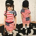 2016 весна лето Девушки юбка набор Пентаграмма полосатый с короткими рукавами Футболки + юбка костюм 2 шт. набор девушек, юбки одежда наборы