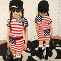 2016 del verano del resorte de Las Muchachas de la falda de rayas Pentagrama corto-manga de La Camiseta + traje de falda 2 unidades set girls faldas sistemas de la ropa
