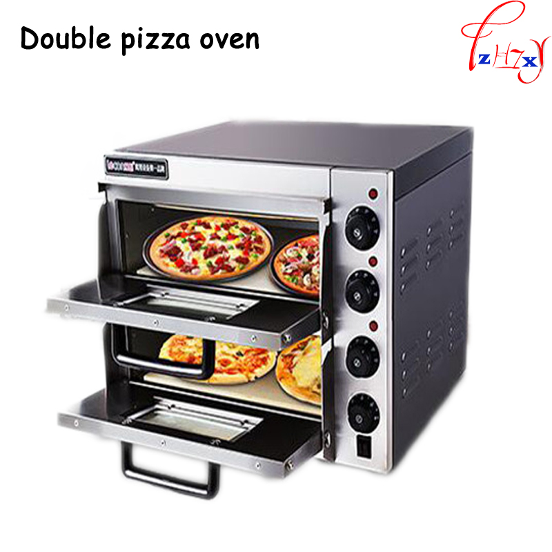 Commercial thermometer Stainless Steel double pizza oven/mini baking oven/bread/cake toaster oven hot Plate Oven   PO2PT 1PC 2 in 1 stainless steel pizza shovel pizza scissor red silver